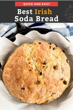 This Irish Soda bread is the best you'll ever eat! Light, slightly sweet, hearty and delicious, this buttermilk bread recipe is a no-yeast, no-knead, quick bread studded with raisins. #Irish #dinner #Stpatricksday #lemonblossoms #easy Easy Dinner Recipes, Holiday Recipes, Easy Meals, Winter Recipes, Easy Recipes, Yeast Bread Recipes, Baking Recipes, Buttermilk Bread, Irish Soda Bread Recipe