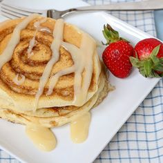 Cinnamon Roll Pancakes for the best mornings ever!