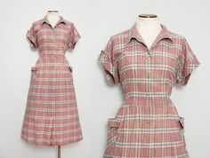 1940s Day Dress / Vintage 40s Plaid Dress / by FancyThatVintage, $44.00