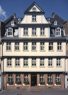 "The Goethe House in the Innenstadt district of Frankfurt am Main, Germany.  This is where Johann Wolfgang Goethe was born on the 28th of August 1749 ""at midday, as the clock was striking twelve"", and where he grew up with his sister Cornelia."