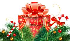 Christmas Decoration with Candy Canes and Red Gift PNG Clipart Image