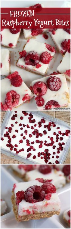 Frozen Raspberry Yogurt Bites are a cool, sweet treat that are easy to make and absolutely delicious! Made with 5 healthy ingredients, it will quickly become a favorite! (easy desserts to make 5 ingredients) Easy Birthday Desserts, Easy To Make Desserts, Easy Desserts, Dessert Recipes, Freezer Desserts, Cafe Recipes, Vegan Desserts, Ice Cream Cookie Sandwich, Ice Cream Cookies