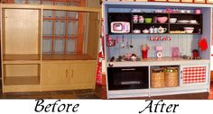 Play Kitchen Before and After (created from an unused media cabinet!)