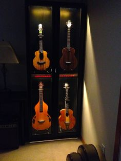 Uke cabinet hacked from an IKEA Billy bookcase.