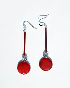 Handmade red mother of pearl earrings red by KarmaKittyJewelry