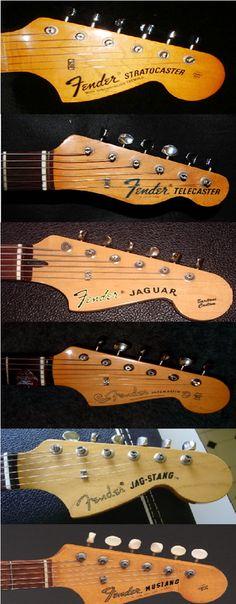 Identify electric guitars from their headstock shape design: Fender Stratocaster / Strat, Telecaster, Jaguar, Jazzmaster, Jag-Stang , Mustang. INSTRUMENTS FOR JOY.
