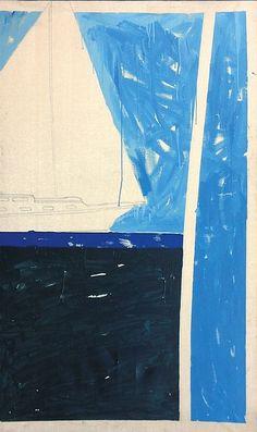 """SCHIFANO MARIO  """"Al mare"""" 1979  196x117 smalto ed acrilico su tela  Opera firmata ed intitolata al retro  Autentica di Elio Mazzoli su fotografia  Già Collezione Elio Mazzoli, Modena"""