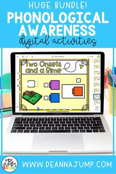 Looking for some Digital k literacy activities that you can use to practice phonological awareness? These phonological awareness activities are compatible with Google Slides and Seesaw and can be used for distance learning or kindergarten literacy centers!
