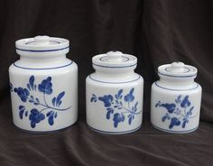 Vintage Hand Painted Viana do Castelo Ceramic Storage Box, Apothecary Jars Set of 3 - Shabby Portuguese Blue on White Floral Kitchen Counter