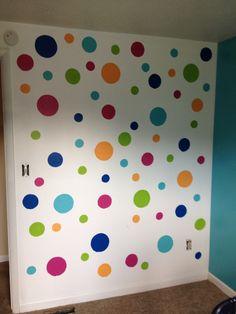 Polk-a-dot wall for kids room.  Cass loves hers!