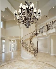 "This is like a dreamy ""foyer"".No one dreams of their most romantic foyer.that's weird, but this foyer might be in my dreams. talk about heavenly. Foyer Staircase, Entry Stairs, Entrance Foyer, Staircase Design, Grand Entrance, White Staircase, Railing Design, Build Your Dream Home, My Dream Home"