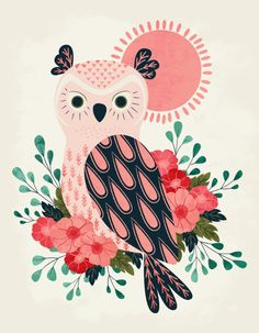 Owl and Blossoms | Licensing | Drawn to better | Astound.us