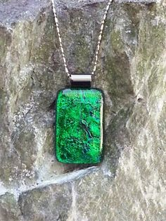Dichroic Glass Pendant - Christmas Green Dichroic Necklace | HCLTreasures - Jewelry on ArtFire, $22.00