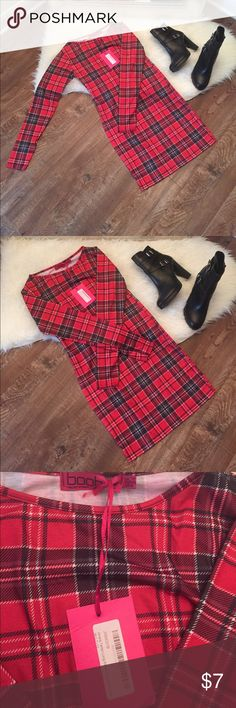 Boohoo tartan long sleeve bodycon dress Boohoo long sleeve tartan bodycon mini dress! Pair with platform booties for an edgy chic look! Brand new with tags! UK 12- US 8 but fits more like a US 6. Boohoo Dresses Mini