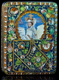 An Antique Russian Shaded Cloisonne Enamel and Gilded Silver Cigarette Case with a painted enamel miniature of the Swan Czarevna (Princess) after the 1900 Vintage Cigarette Case, Cigarette Box, Antique Boxes, Russian Art, Objet D'art, Silver Enamel, Antique Silver, Casket, Art Object