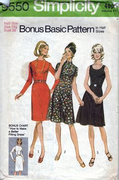 70s Simplicity dress sewing patterns 9550, bust 35 inches, sleeveless or long sleeve dress.   Bonus Basic Dresses with Two Skirts and Two Bodices in