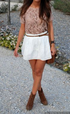 Beige lace top, blouse, white skirt, brown shoes, shoulder bag. Summer women fashion outfit clothing style apparel @roressclothes closet ideas