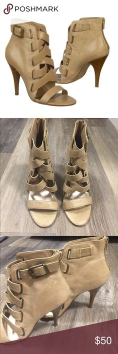 """Fergie Jody Strappy Nude Sandal Heels Size 6.5 Fergie Jody Strappy Nude Sandal Heels Size 6.5, heel height: 3 3/4"""", brand new with stickers attached. A few scuff marks on sides (see pictures), reflected in the price! Fergie Shoes Heels"""