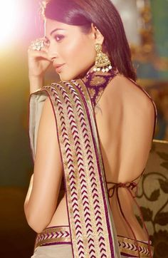 Wonderful Gold & Purple Embroidered Open Back #Blouse.