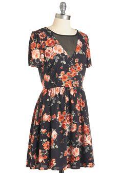Strum Enchanted Evening Dress. This lightweight floral dress flutters as you boogie alongside your acoustic guitar. #black #modcloth