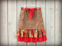 Upcycled Country Cargo Skirt// XL Size 14// Cabbage by emmevielle