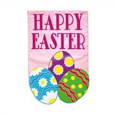 """Colorful Spring """"Happy Easter"""" Decorative Easter Eggs Outdoor Flag"""