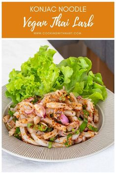 A vegan larb (laab) or sour and spicy. Laab is traditionally made with ground meat but this recipe uses konjac noodles instead, so it's vegan / vegetarian. Vegetarian Appetizers, Vegetarian Salad, Vegetarian Recipes, Healthy Recipes, Delicious Recipes, Easy Recipes, Tasty, Asian Noodle Recipes, Asian Recipes