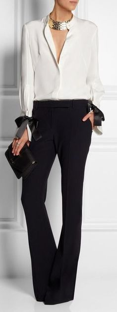 Designer fashion | Gucci white blouse with high waisted flared trousers