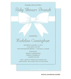 Baby Shower Brunch This Sweet And Elegant Blue Baby Shower Invitation  Features A Beautiful Bow