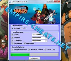Ultimate Naruto Hack Cheat   Generate Unlimited Gold  Add Unlimited Silver  Coupons Hacker  Full Vitality and Immortality  All security options  Here comes the added tool for hacking Ultimate Naruto.