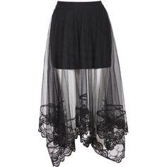 SheIn(sheinside) Black Elastic Waist Embroidered Hem Mesh Skirt ($9.99) ❤ liked on Polyvore featuring skirts, bottoms, saia, black, gonne, long skirts, elastic waist skirt, long mesh skirt, full length skirt and embroidered long skirts