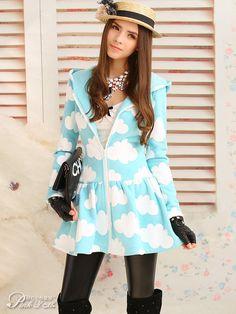 blue sky flared coat $81 #asianicandy #kawaii #asianfashion #chicstyle #japanese #kfashion #juniorfashion #teenfashion #sweet #morigirl