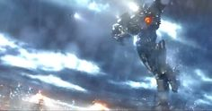 "A giant human-controlled robot about to deliver a flying body slam on an equally giant alien invader, in a scene from the latest trailer for ""Pacific Rim."" This one is focused more on the people than the monsters and robots:   http://www.deadline.com/2013/06/hot-trailer-guillermo-del-toros-pacific-rim/"