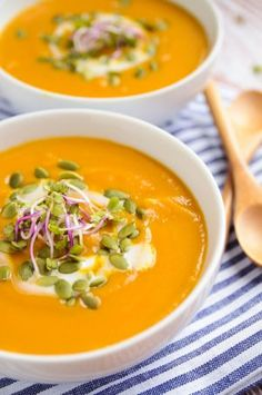 Butternut squash, sweet potatoes and green apples form the base. Broth, coconut oil, cinnamon, curry powder, and coconut milk finish this wondrous soup.