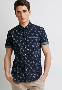 Oxford-Trimmed Swallow Print Shirt | 21 MEN | #f21men