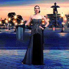 Sue Wong strapless gown with two-toned seutache torso and waterfall skirt…  #teamsuewong #suewong #fashion #coutureinspired #picoftheday #glamorous