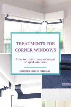 Inspiration and ideas on how to dress two awkward windows at right angles to each other. Roman blinds with matching pelmets maximise the light and keep the lines clean and simple..
