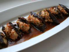 The Best Stuffed Eggplant Recipe - eggplant recipes Chinese Eggplant Recipes, Eggplant Dishes, Stuffed Eggplant Recipes, Chinese Recipes, Dim Sum, Seafood Recipes, Appetizer Recipes, Cooking Recipes, Asia