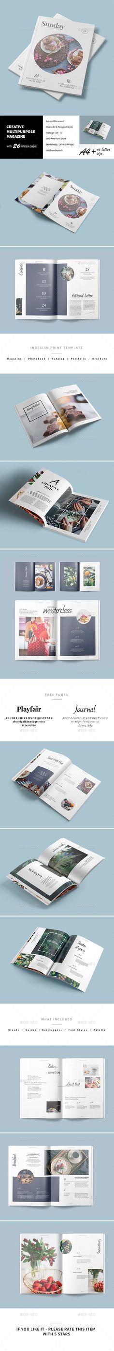 Magazine & Portfolio + Lookbook Template InDesign INDD. Download here: http://graphicriver.net/item/multipurpose-magazine/16516900?ref=ksioks