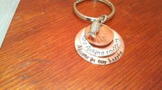 Hand stamped memorial penny key chain by ByalittlebitofFaith, $21.00