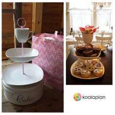 "Blogger inspiration: DIY cake stand by http://anneting.blogg.no using ""round pink"" (www.koalaplan.com)"
