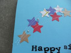 DIY Birthday cards with stars and a sewing machine
