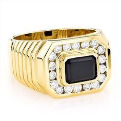 Luxurman 14k Gold Men's 3/4ct Diamond and Black Onyx Ring (H-I, SI1-SI2) (14k Yellow Gold Size 7.5)