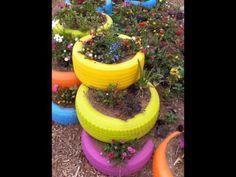make use of old tires n make your garden colorful! Tire Garden, Garden Art, Garden Design, Tire Planters, Sensory Garden, Old Tires, Recycled Tires, Outdoor Learning, Colorful Garden