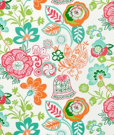 My new fabric, Covington Razzle Sherbet. I'm thinking master bedroom with neutral headboard, white bedding, this for cushions or chair and pull out the teal for curtains. <3