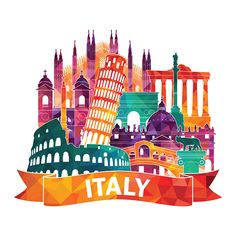 Similar vectors to 77281702 Italy skyline illustration Italy Illustration, Italy Map, Italy Italy, Flower Background Wallpaper, Skyline Art, Travel Icon, Toddler Travel, World Cities, Tourist Places