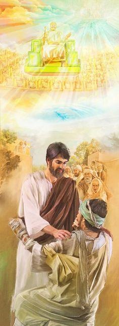 1. Reino de Dios en el cielo; 2. Jesús curando a un leproso