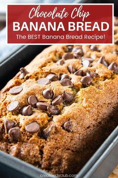 A simple chocolate chip banana bread recipe that is simple enough kids can make it! This delicious banana bread is crunchy on the outside and soft on the inside. Use fresh or frozen bananas. #bananabreadrecipe #chocolatechipbananabreadrecipe #createkidsclub Loaf Recipes, Banana Bread Recipes, Lunch Recipes, Best Banana Bread, Chocolate Chip Banana Bread, Good Healthy Recipes, Frozen Banana, Learn To Cook, Convenience Food