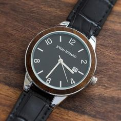 Chechen Wood Watch, Metal Wristwatch With Alligator Grain Leather Strap-JE1008-6