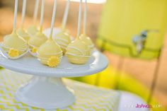 Cute cake pops at a Sunshine Chevron Party #sunshine #party